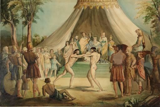 peinture de lutteurs nus